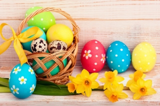 Обои Easter Spring Daffodils Flowers and Eggs Decorations для Gigabyte GSmart