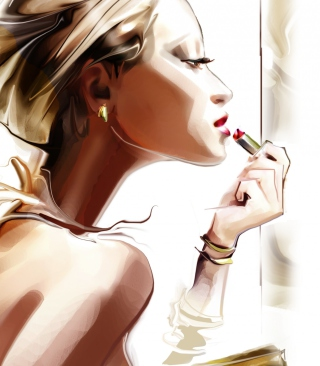 Картинка Girl With Red Lipstick Drawing для телефона и на рабочий стол 768x1280