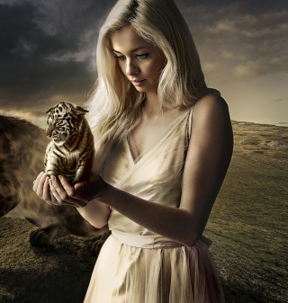 Картинка Girl With Tiger на телефон iPad