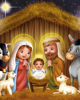 Обои Baby Christ Is Born на телефон 132x176