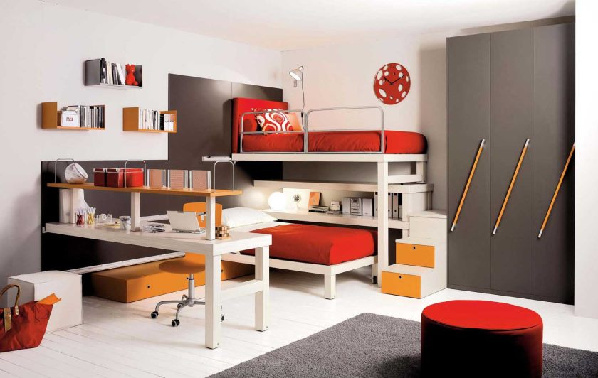 furniture-bedroom-office-other-kids-bedroom-fashionable-childrens-bedroom-with-awesome-modern-desk-and-fancy-red-black-couch-contemporary-kids-bedroom-furniture-ideas