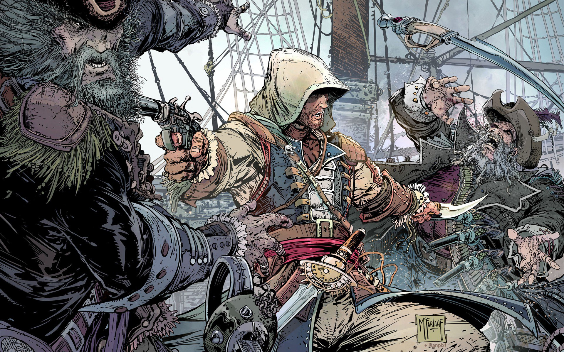 a a in' creed 4: black flag, edward kenway, пистоль, пират