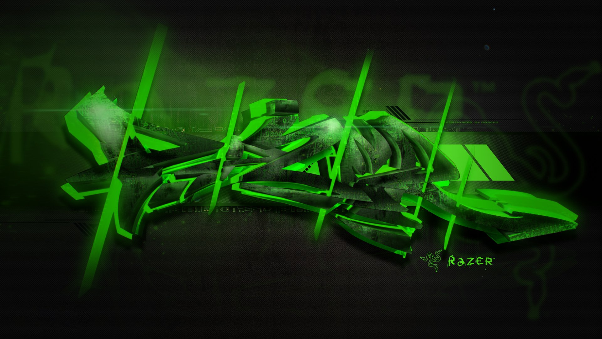 razer, green, graffiti