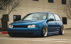 Обои mk4, tuning, volkswagen, coupe, blue, low, golf, germany, stance