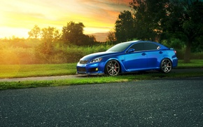Обои blue, profile, Lexus, sun, IS F, блик