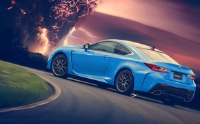 Обои молния, Lexus, RC-F, blue, HansenART, Hansen Art, by ilPoli, rear