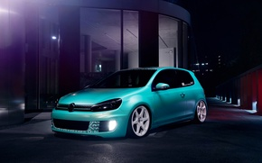 Обои Low, Golf, Dapper, Volkswagen, Blue, Stance, GTI