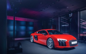 Обои 2015, New, Supercar, Red, Front, Wheels, Audi