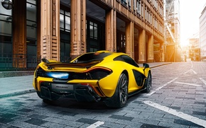 Обои McLaren, Exhaust, Rear, Supercar, Fire, Yellow