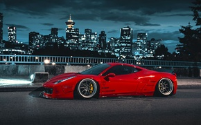 Обои City, Ferrari, Red, 458, Body, Italia, Kit, Liberty, Walk