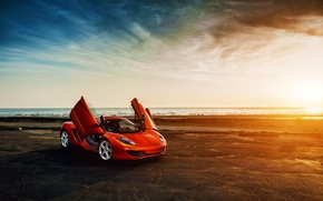 Обои McLaren, MP4-12C, Beauty, Sea, Doors, Orange, Sunset, Supercar, Front, Sky, Clound
