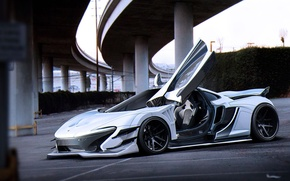 Обои McLaren, by Khyzyl Saleem, White, Supercar, Future, Tuning