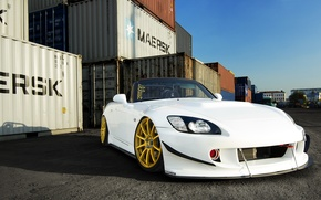 Обои Honda, Car, Front, White, S2000, Tuning, Gold, Wheels