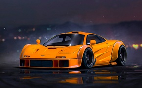 Обои McLaren, by Khyzyl Saleem, Supercar, Future, Tuning, Nigth, Orange