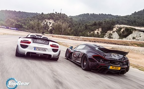 Обои Spoilers, McLaren, Top Gear, 918, Sun, Spider, Rear, Speed, Supercars, Porsche