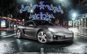 Обои 981C, front, Cayman, Porsche, Michelin, silvery