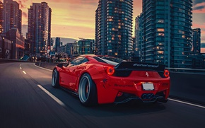 Обои City, Ferrari, Red, 458, Body, Italia, Rear, Kit, Liberty, Walk