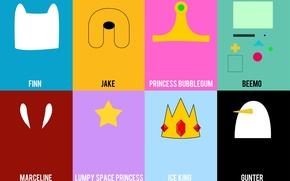 Обои Adventure Time, Ice King, Lumpy Space Princess, Beemo, Finn, Marceline, Jake, Gunter, Princess Bubblegum