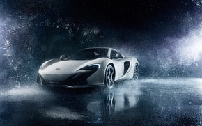 Обои McLaren, Ligth, Frozen, White, 650S, Supercar, Front, Water