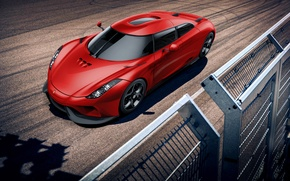 Обои Track, Supercar, Power, Red, Front, Koenigsegg, Regera