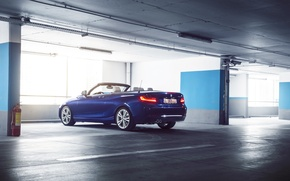 Обои German, Car, Garage, Cabriolet, Blue, 220D, Rear, BMW