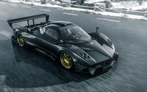 Обои Car, Track, Pagani, Speed, Race, Zonda R, Spoiler