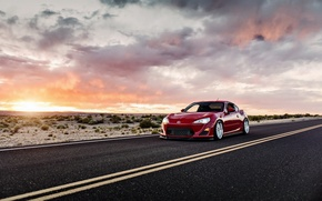 Обои toyota gt86, scion fs-r, car, tuning, lunchbox photoworks, закат