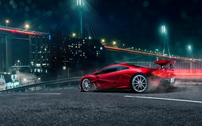 Обои McLaren, Rear, Supercar, Red, Light, Bridge, Spoiler