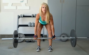 Обои crossfit, blonde, fitness, weight lifting
