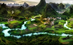 Обои природа, город, китай, азия, деревня, панорама, asia, china, guilin, гуйлинь