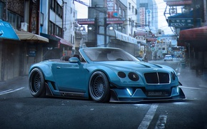 Обои Bentley, by Khyzyl Saleem, Future, Tuning, Continental, Blue, Stance