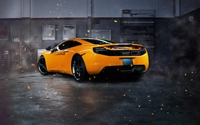 Обои McLaren, Sparks, Rear, MP4-12C, Supercar, Garage, Orange