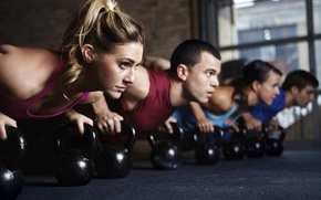 Обои crossfit, class, group, pushups, Russian dumbbell