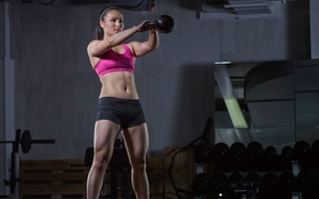 Обои crossfit, woman, Russian, workout, dumbbell, gym