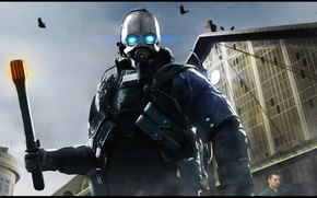 Обои Valve, Civil Protection, Half-Life 2, respirator, City 17, Combine guard, helmet, альянс