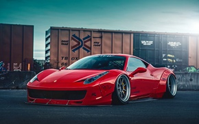 Обои City, Ferrari, Red, 458, Body, Front, Italia, Kit, Liberty, Walk