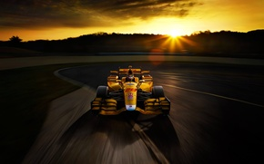 Обои Honda, Race, Speed, Sunset, Yellow, Track, Bolide