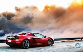 Обои McLaren, MP4-12C, British, Red, Top Gear, Back, Clouds, Road, Sky, Supercar