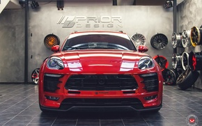 Обои red, car, tuning, Vossen, prior design, Porsche Macan