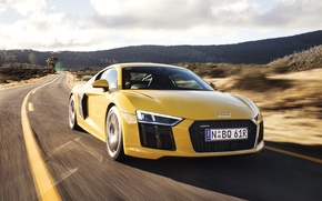 Обои V10, yellow, speed, car, машина, ауди, road, Audi