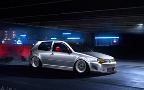 Обои volkswagen, ночь, тюнинг, парковка, tuning, golf, white