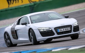 Обои wallpapers, car, track, supercar, Audi, white