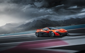 Обои Skid, McLaren, Track, Clouds, Supercar, Drifting, Orange