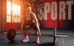 Обои woman, crossfit, gym, weight lifting