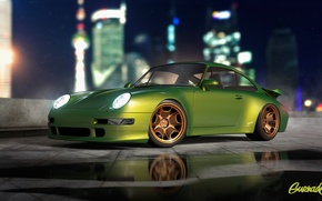 Обои Turbo, Modern, 993, Porsche, Green, by Gurnade