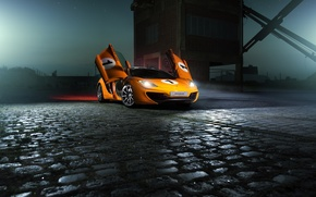 Обои McLaren, Color, MP4-12C, Nigth, Beam, Ligth, Orange, Supercar