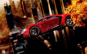 Обои W Motors, Lykan, Red, Fire, Side, Fly, Furious 7, Hypersport