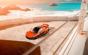 Обои McLaren, Car, Supercar, Front, Beauty, Sea, Orange