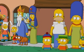 Обои The Simpsons, Adventure Time, Marge, Parody, Bart, South Park, Maggie, Gomer, Liza
