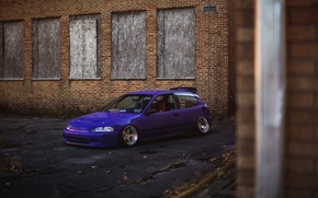 Обои Purple, Honda Civic, цивик, stance. хонда